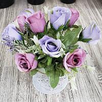"""Композиция из искусственных цветов """"Roses"""" R87241 керамика, ткань, 20*10см, Искусственные цветы, Декор, Цветы"""
