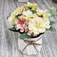 """Композиция из искусственных цветов """"Summer"""" R87246 керамика, ткань, 9*15см, Искусственные цветы, Декор, Цветы"""