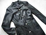 Кожаное женское пальто Б/У Размер S / 44-46, фото 3