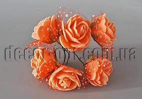 Букет оранжево-персиковых розочек с фатином из латекса 3 см