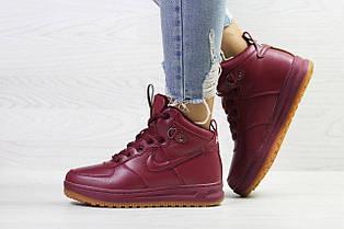 Зимние женские высокие кроссовки  Nike Air Force LF- 1,бордовые