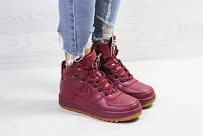 Зимние женские высокие кроссовки  Nike Air Force LF- 1,бордовые, фото 2