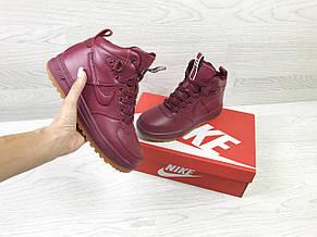 Зимние женские высокие кроссовки  Nike Air Force LF- 1,бордовые, фото 3