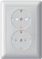 Розетка двойная с заземлением со шторками белая Schneider Electric - W59 (Шнейдер Электрик W59 )
