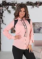 Женская блузка с отделкой из черного кружева, фото 1
