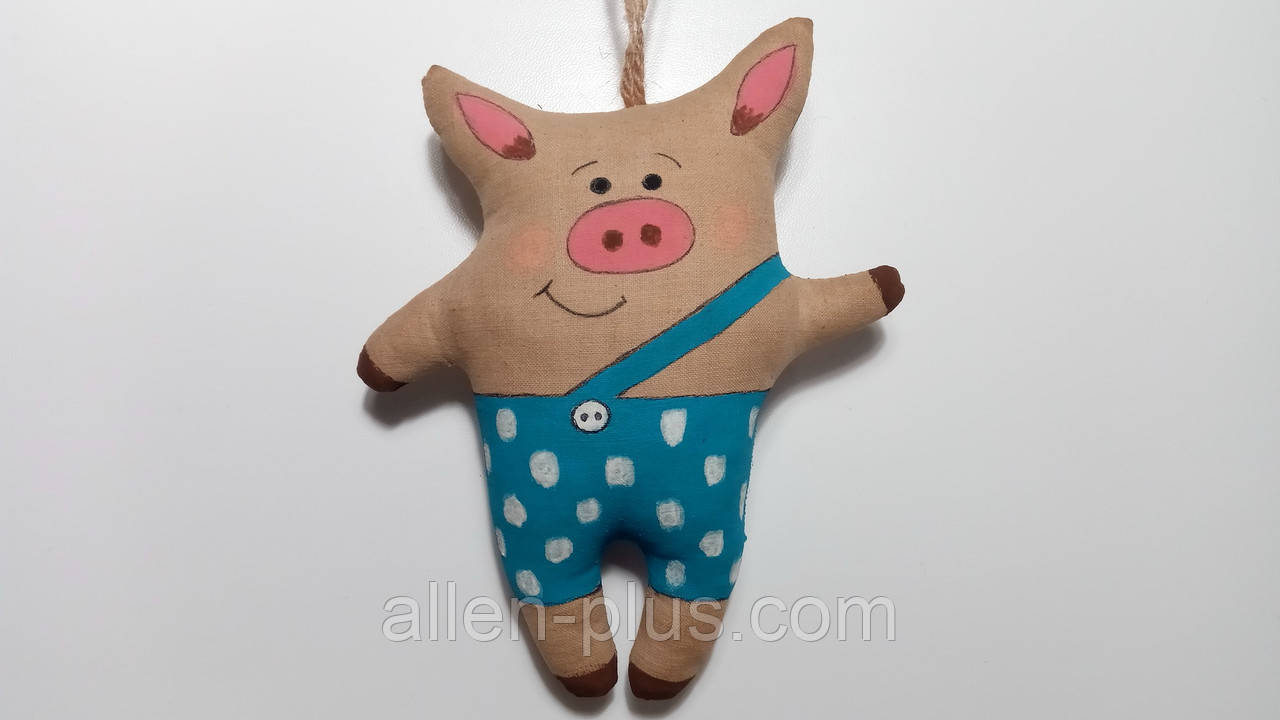 Кофейная игрушка ручной работы Свинка в штанишках