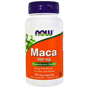 NOW Maca 500 mg 100 veg caps, НАУ Мака 500 мг 100 капсул