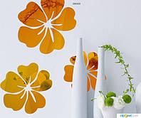 Зеркальный декор Цветы Золото (5шт разного диаметра)