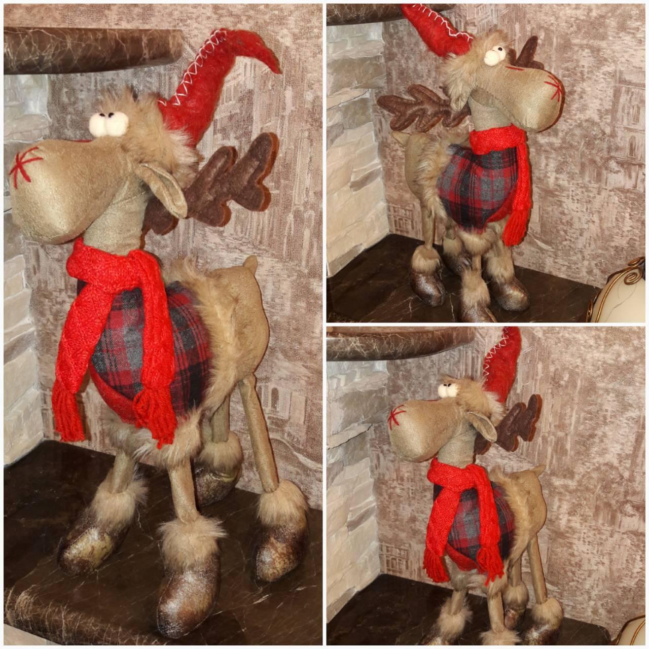 Красивый олень на 4 ногах и с шарфом, ручная работа, выс. 50 см., 470/420 (цена за 1 шт. + 50 гр.)