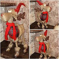 Красивый олень на 4 ногах и с шарфом, ручная работа, выс. 50 см., 470/420 (цена за 1 шт. + 50 гр.), фото 1