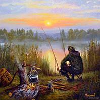 """Картина по номерам. Сельский пейзаж """"Отдыхая у реки"""" 40*50см KHO2241"""