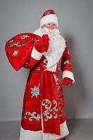 """Взрослый карнавальный костюм """"Дед Мороз"""" красный бархат"""