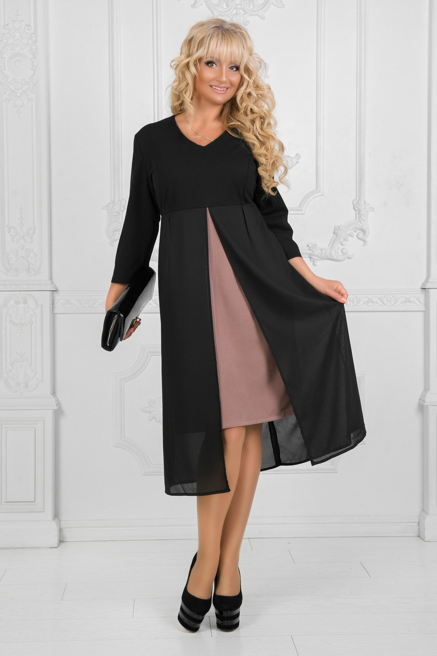 0008692f966 Нарядное платье с шифоном. Чёрное