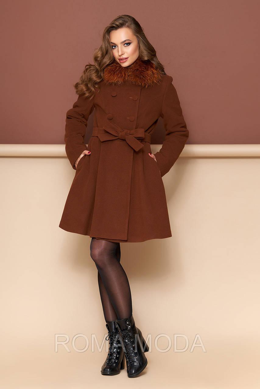 Зимнее пальто женское с мехом Р-27/2 коричневый