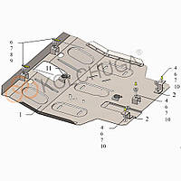 Kolchuga Защита двигателя, КПП и радиатора на Hyundai Pony IV '89-94 Standart