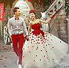Ультра модное Свадебное платье с красными деталями.