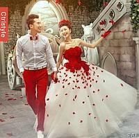 Ультра модное Свадебное платье с красными деталями., фото 1