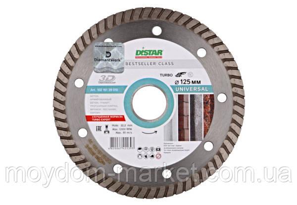 Алмазний диск DISTAR 125мм TURBO 3D, бетон, бруківка, цегла 1A1RSS Bestseller Universal/ 10215129010