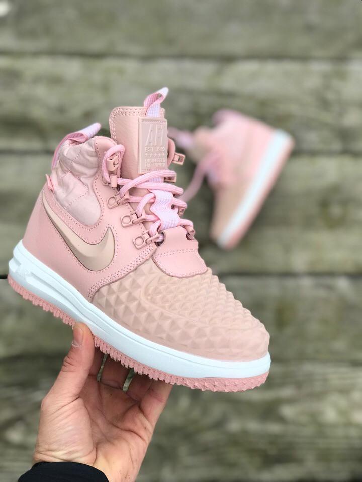 Женские кроссовки Nike Lunar Force 1 Dckboot 17 розовые