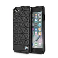 Чехол для iPhone 8 Plus BMW Embossed Hexagon Leather, черный