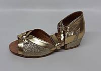 Туфли детские для танцев Виктория (гальв. золото с напылением)