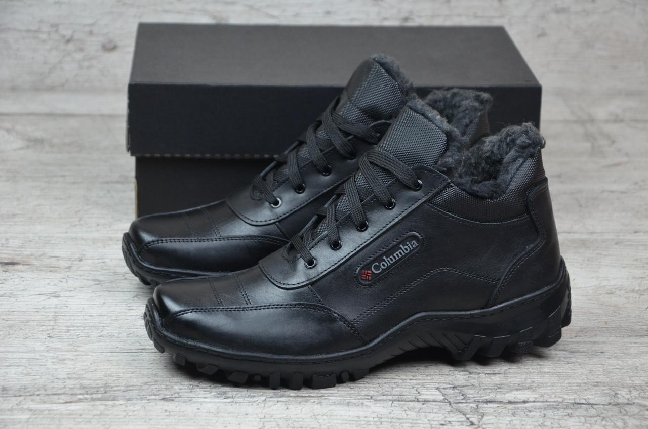 Зимние Мужские Кожаные Ботинки Columbia Черные Топ Реплика — в ... 564a0ad526b