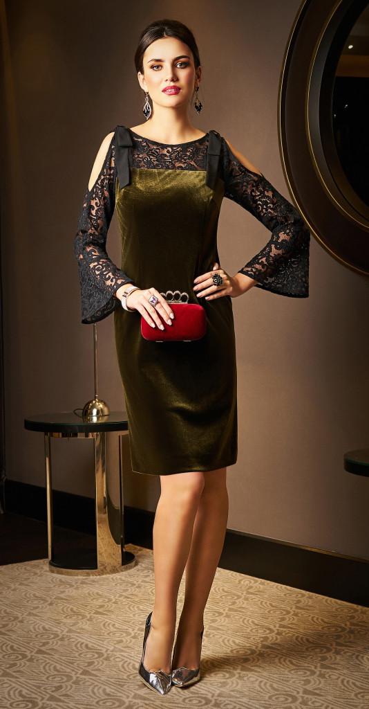 Платье Lissana-3520 белорусский трикотаж, с зеленым оттенком, 50