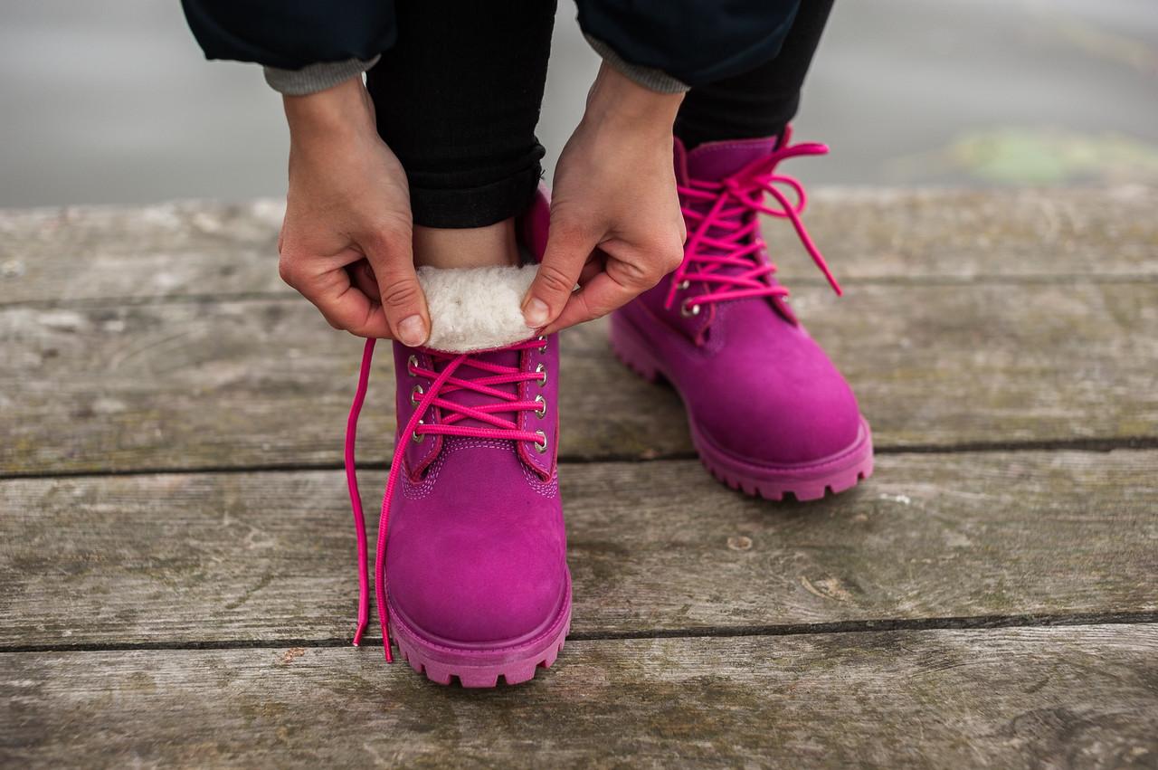 Женские кроссовки в стиле Timberland фиолетовые  на меху