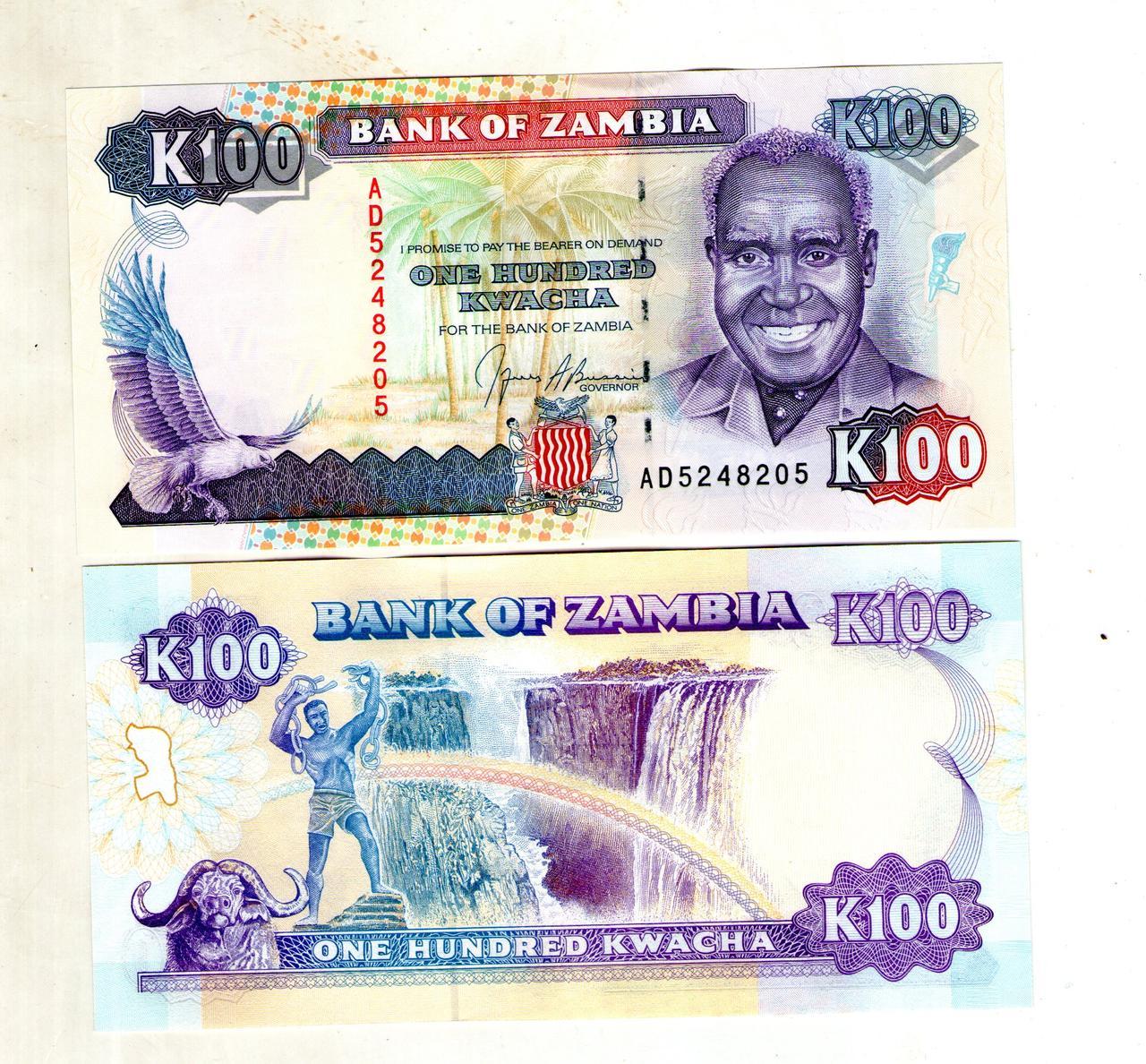Замбия 100 квача 1991 состояние UNS