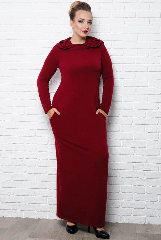 """Бордовое длинное платье """"Chelsea"""" больших размеров"""