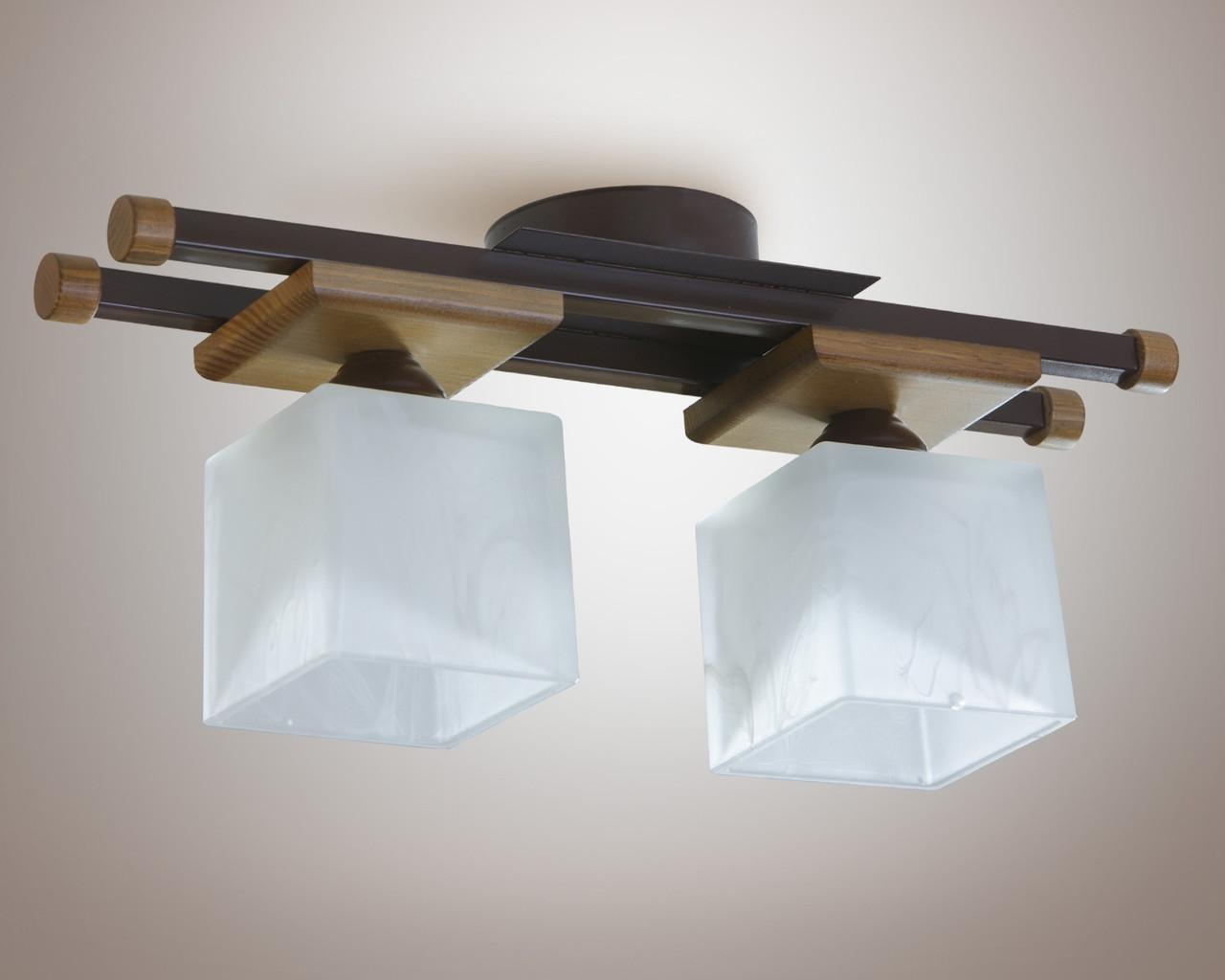 Люстра 2-х лампова, металева, дерево, кухня, коридор 14622-2