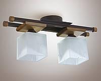 Люстра 2-х ламповая, металлическая, дерево, кухня, коридор