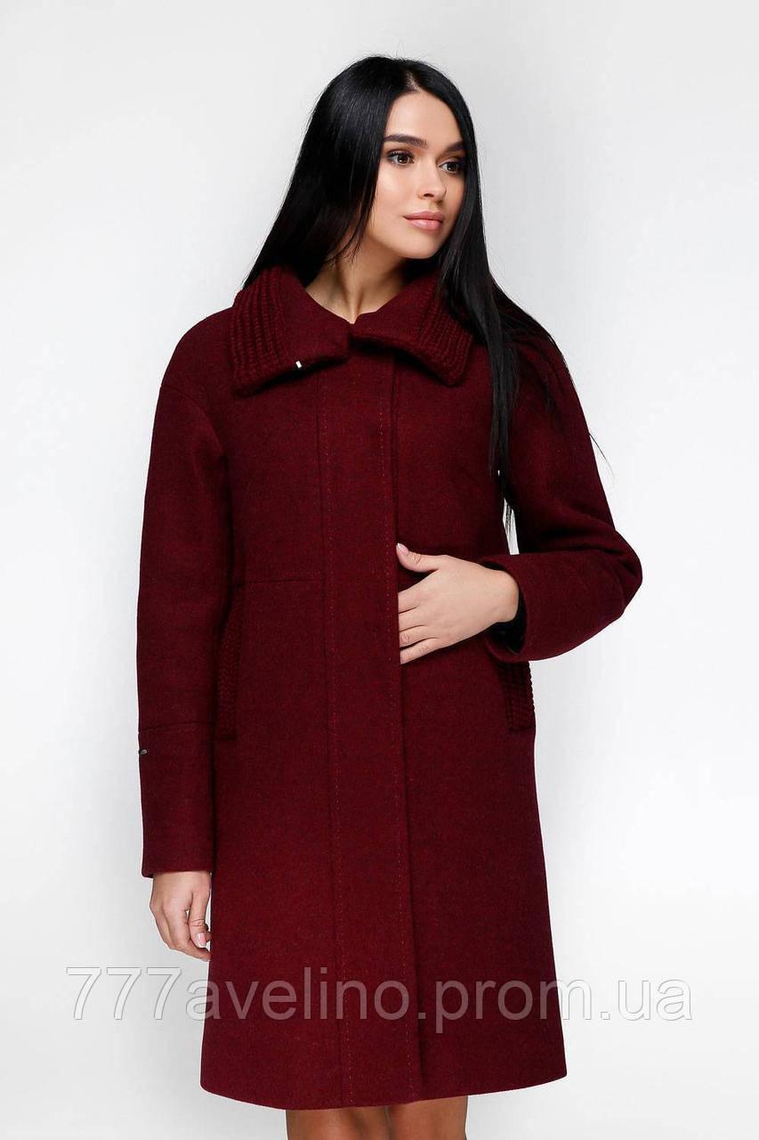 Зимнее женское пальто бордовое