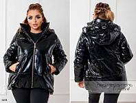 Куртка свободного фасона с капюшоном кожзам+200 силикон 48-50,52-54,56, фото 1
