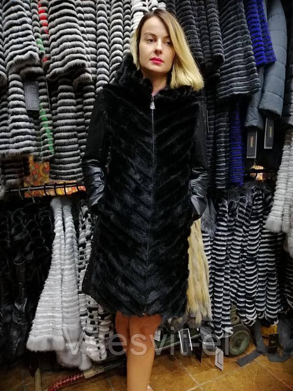 Норковое зимнее пальто с кожаными рукавами и капюшоном, шуба 2в1, шубка, норочка - Vsesvit-el в Одессе