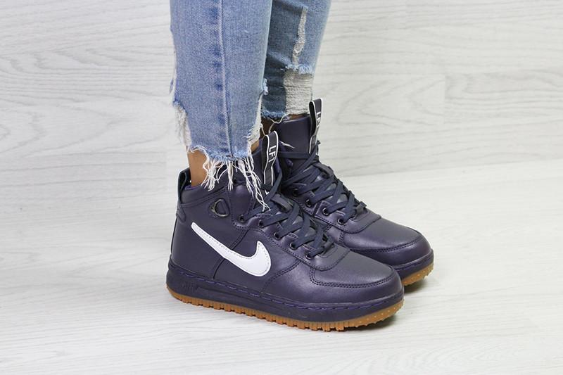 4f16feff Кроссовки женские найк аир форс 1 зимние фиолетовые с мехом (реплика) Nike  Air Force LF1 Puple Leather Winter