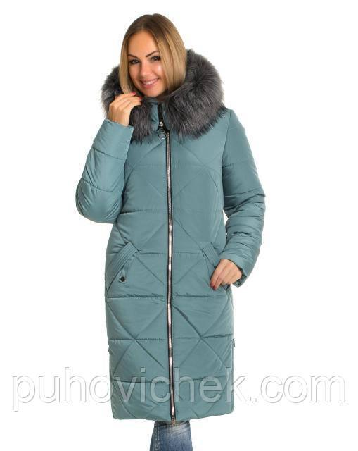 Удлиненная зимняя куртка пуховик женская с капюшоном теплая