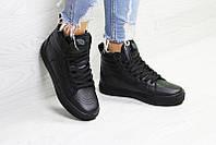 Кроссовки женские ванс зимние черные меховые повседневные (реплика) Vans Leather Black Winter