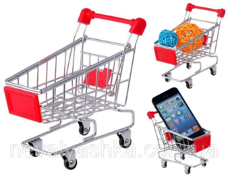 Тележка маленькая детская на колёсиках с ручкой металл мини тачка супермаркет игрушечная, MT969  009121