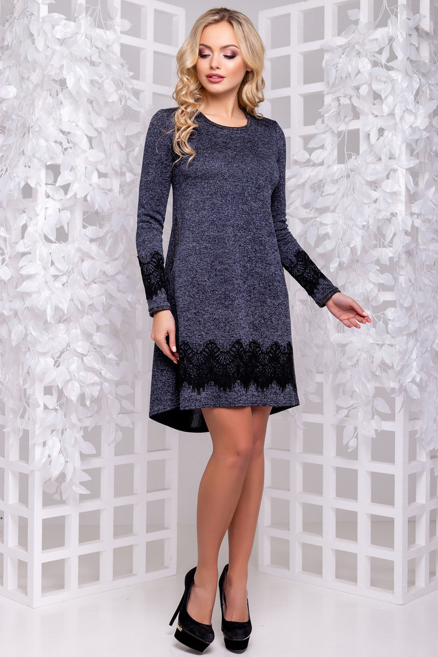 cf0b68f678cd1af Женское нарядное платье, размеры от 44 до 50, синее, с кружевом,  асимметричное