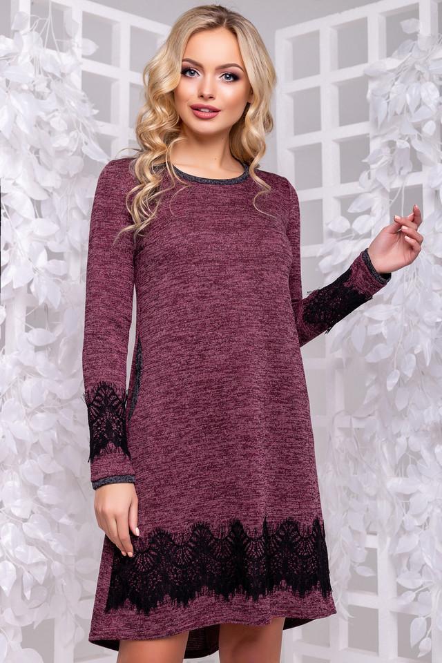 Женское нарядное платье, размеры от 44 до 50, марсала, с кружевом, асимметричное, молодёжное, повседневное