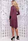 Трикотажное платье свободного кроя с кружевом марсала с люрексом, фото 7