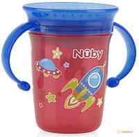 Чашка-непроливайка Nuby 360 с ручками и крышкой, 240 мл (10410red) (63670)