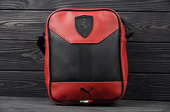 Кожаная барсетка с логотипом в стиле Ferrari Красный