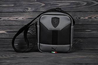 Кожаная барсетка с логотипом в стиле Ferrari Серый