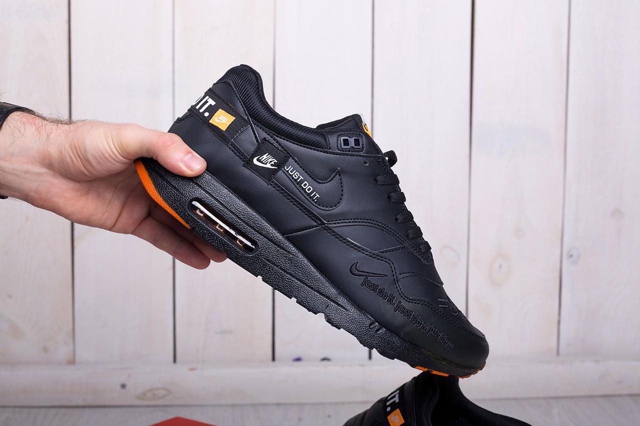 Мужские стильные кроссовки Nike Air Max 1 Just Do It черные топ-реплика