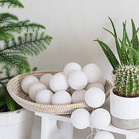 "Тайская гирлянда ""White"" (20 шариков) петля, фото 1"