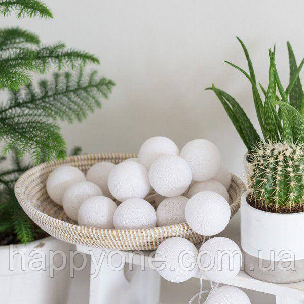 "Тайская гирлянда ""White"" (35 шариков) петля"
