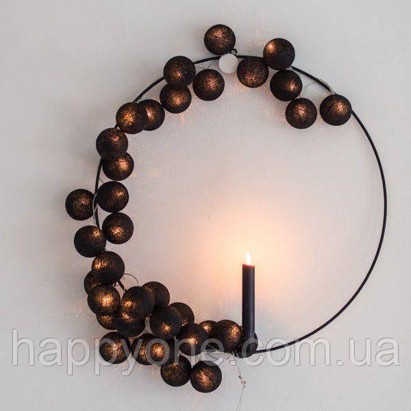 """Тайская гирлянда """"Black"""" (35 шариков) петля"""