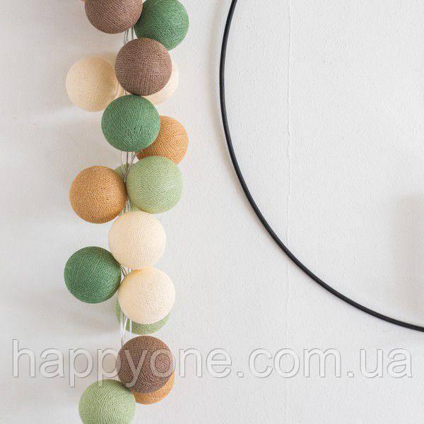 """Тайская LED-гирлянда """"Forest green"""" (10 шариков) на батарейках"""
